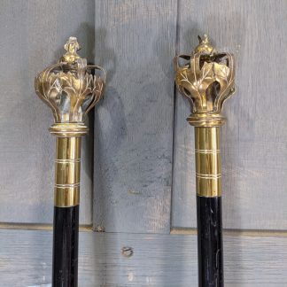 Pair of Brass & Lacquered Oak Wardens Staves with Crowns