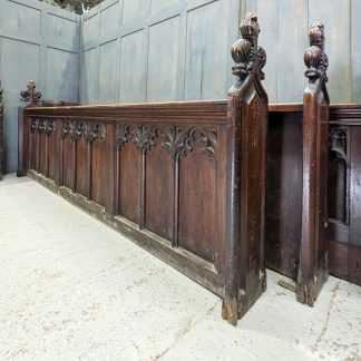 Very Large Run of Carved Antique Church Gothic Frontages Panels Panelling in Pine