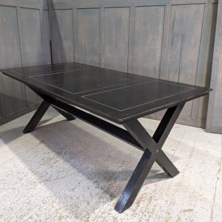 Black Lacquer Chinese Refectory Table with X Frame Legs