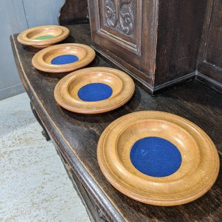 Vintage Hand Turned Oak Collection Plates from Christ Church Leatherhead