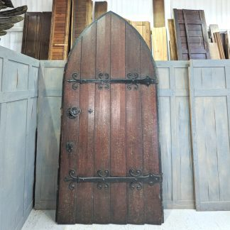 Fantastic Solid Oak Antique Arched Church Door with Full Metalwork