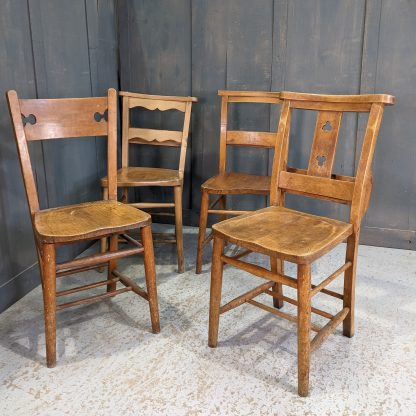Four Diverse Styled Church Chapel Chairs VII