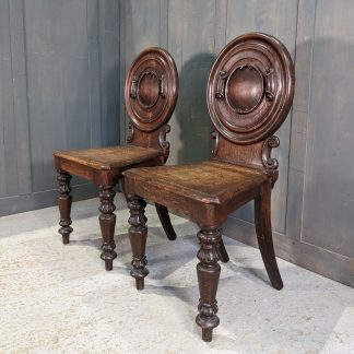 Pair of Unusual Antique Carved Oak Round Shield Hall/Server Chairs