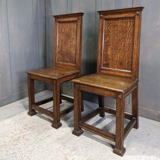 Bold Art Deco Oak High Back 1930's Vintage Church Ministers Chairs
