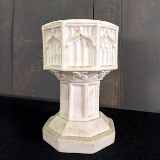 Small Vintage Gothic Bisque China Baptismal Church Table Font