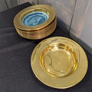 1930's Vintage Heavy Brass Church Collection Plates from Bournemouth