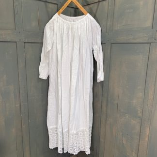 Large White Linen Alb with Lace Detail