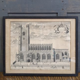 17th Century Framed Engraving of the Church St Mary the Great Cambridge