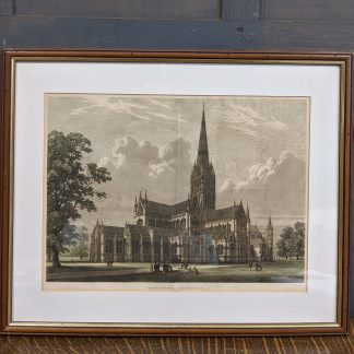 Large Well Framed Hand Coloured Victorian Lithograph of Salisbury Cathedral