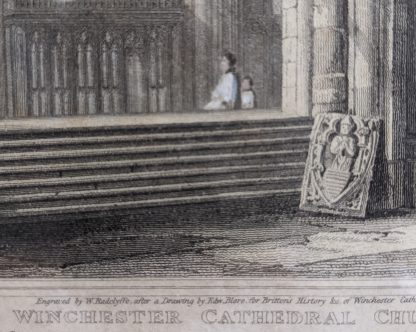 Winchester Cathedral Three 1816 Hand Coloured Engravings Published by Longman & Co