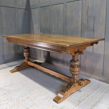 Large Carved Baluster Leg Oak Refectory Table with Pegged Stretchers