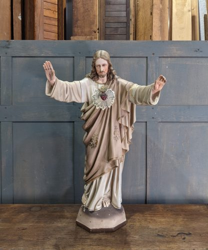 Very Heavy Medium to Large French Statue of Christ the Sacred Heart Redeemer