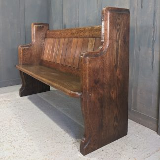St George's Boscombe Heavy & Substantial Vintage Flush Against Wall Solid Oak Pew