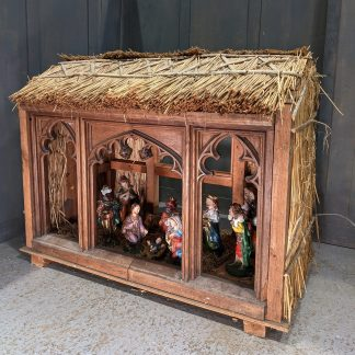 Large Yet Charming Church Nativity Barn with Vintage Italian Figures