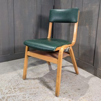 1967 Vintage Green Vinyl & Beech Ply Stacking Chairs