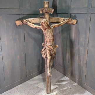 Large Nearly Life Size Carved Wooden Oberammergau Crucifix